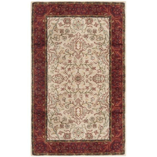 Safavieh Handmade Persian Legend Traditional Ivory/Rust Wool Rug (4' x 6')