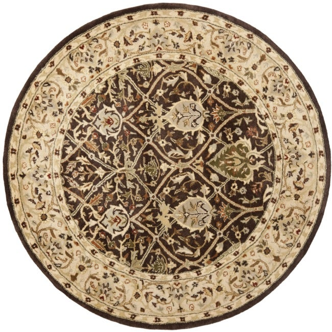 Safavieh Handmade Persian Legend Brown/ Beige Wool Rug (6' Round) - Thumbnail 0