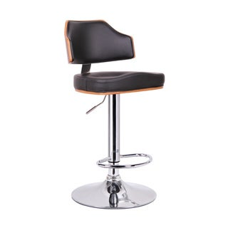 "Modern Brown and Black 26-34"" Adjustable Bar Stool by Baxton Studio"