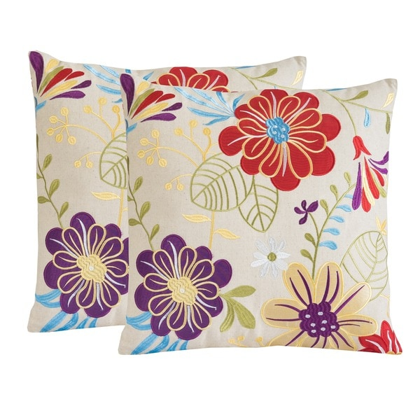 Embroidered Flowers Pillows (Set of 2) by Christopher Knight Home