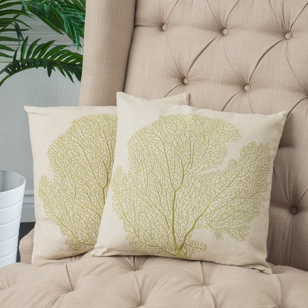 Beige Embroidered Pillows (Set of 2) by Christopher Knight Home