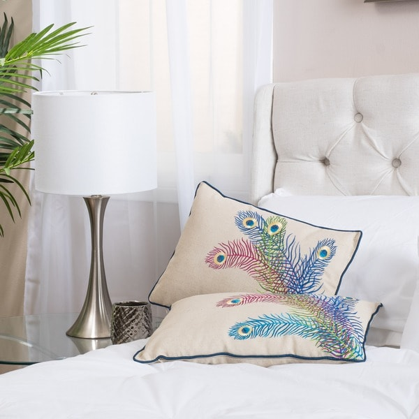 Blue Peacock Pillows (Set of 2) by Christopher Knight Home