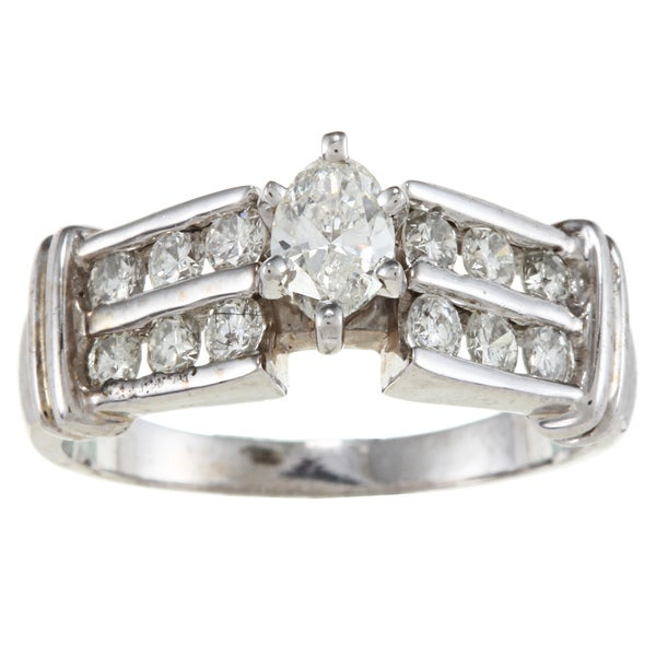 Victoria Kay 14k White Gold 1ct TDW Marquise Diamond Engagement Ring (H-I, SI1-SI2)