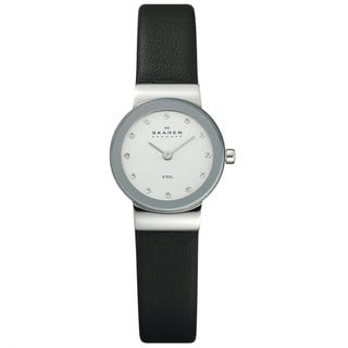 Skagen Women's 358XSSLBC Element Watch with Black Leather Strap