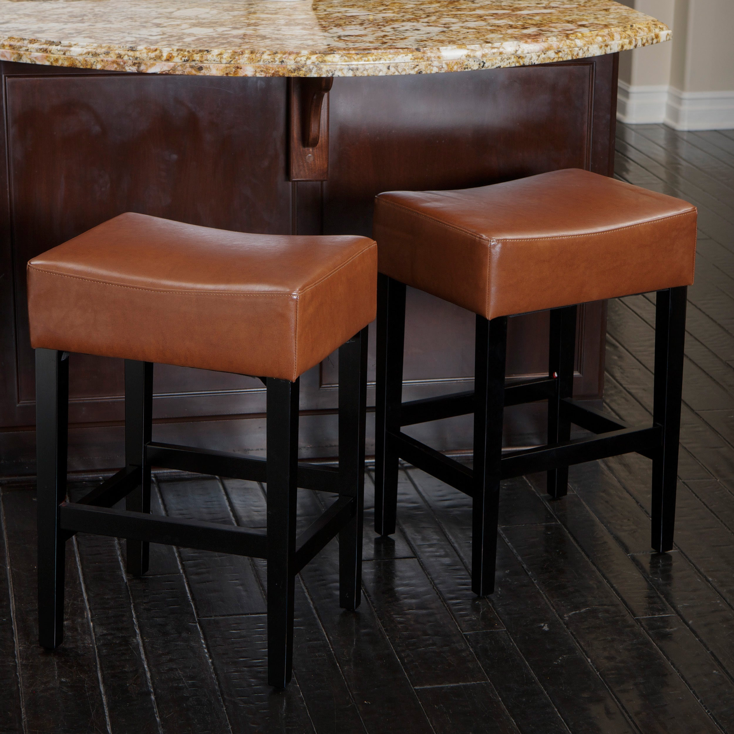 Lopez 27-inch Backless Hazelnut Leather Counterstools (Se...