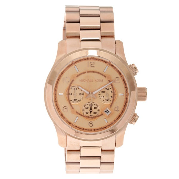 6d0ac064a909d Shop Michael Kors Unisex Runway Rose-Goldtone Oversized Chronograph ...