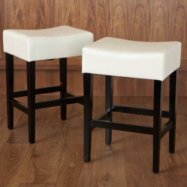 Lopez 27-inch Backless Ivory Leather Counterstools (Set of 2) by Christopher Knight Home