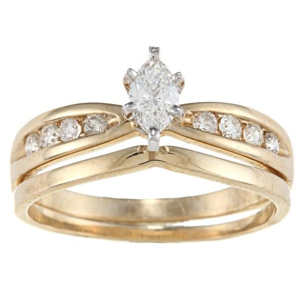 Victoria Kay 14k Yellow Gold 1/2ct TDW Marquise Diamond Bridal Ring Set