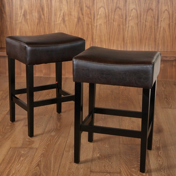 Lopez Backless Brown Leather Counterstools (Set of 2) by Christopher Knight Home