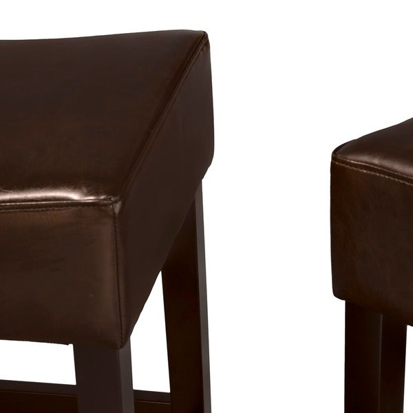 Lopez 27-inch Backless Brown Leather Counterstools (Set of 2) by Christopher Knight Home - Free Shipping Today - Overstock.com - 14369761  sc 1 st  Overstock.com & Lopez 27-inch Backless Brown Leather Counterstools (Set of 2) by ... islam-shia.org