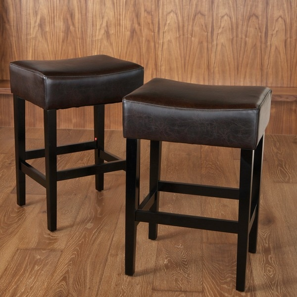 Lopez 27-inch Backless Brown Leather Counterstools (Set of 2) by Christopher Knight Home
