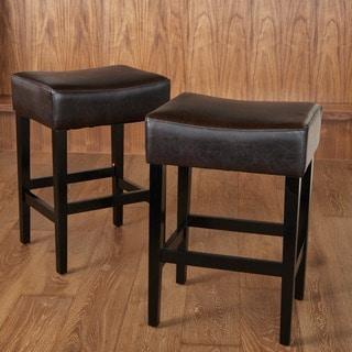 Shop Lopez 27 Inch Backless Hazelnut Leather Counterstools