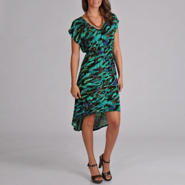Tiana B. Women's Feather Printed High-Low Hemline Dress