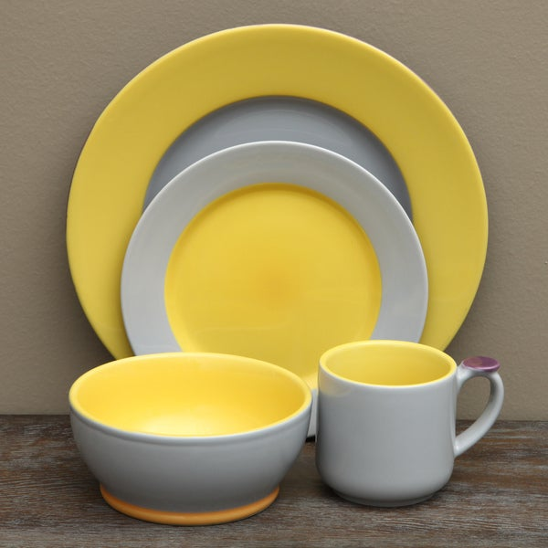 Shop OmniWare Grey/ Yellow 16-piece Dinnerware Set - Free Shipping ...