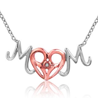 Bridal Symphony 10K Rose Gold and Silver Diamond Accent 'Mom' Necklace