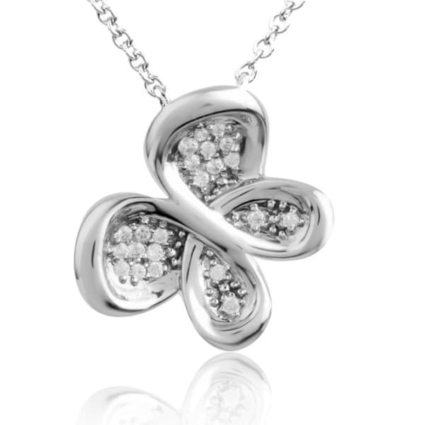 Bridal Symphony 10K Gold Diamond Accent Diamond Butterfly Necklace (I2-I3, IJ)