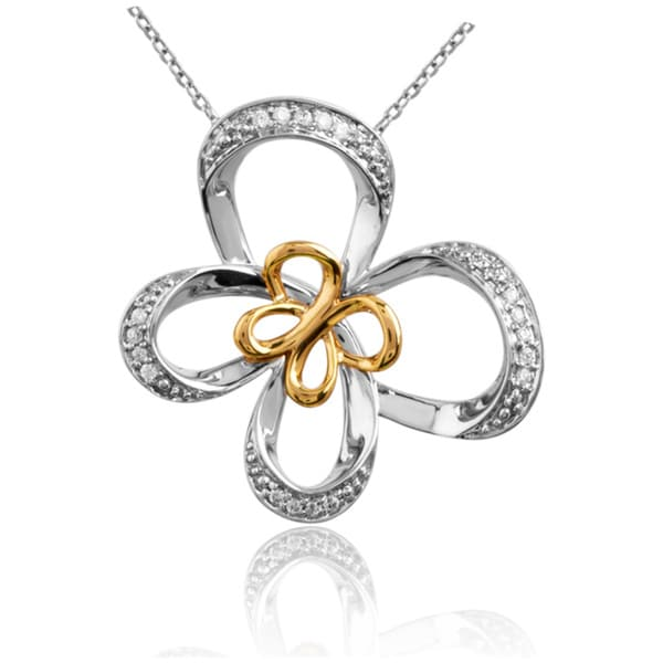 Bridal Symphony  10K Gold and Silver 1/10ct TDW Diamond Butterfly Necklace (I2-I3, IJ)