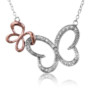 Bridal Symphony 10K Rose Gold and Silver 1/10ct TDW Diamond Butterfly Necklace