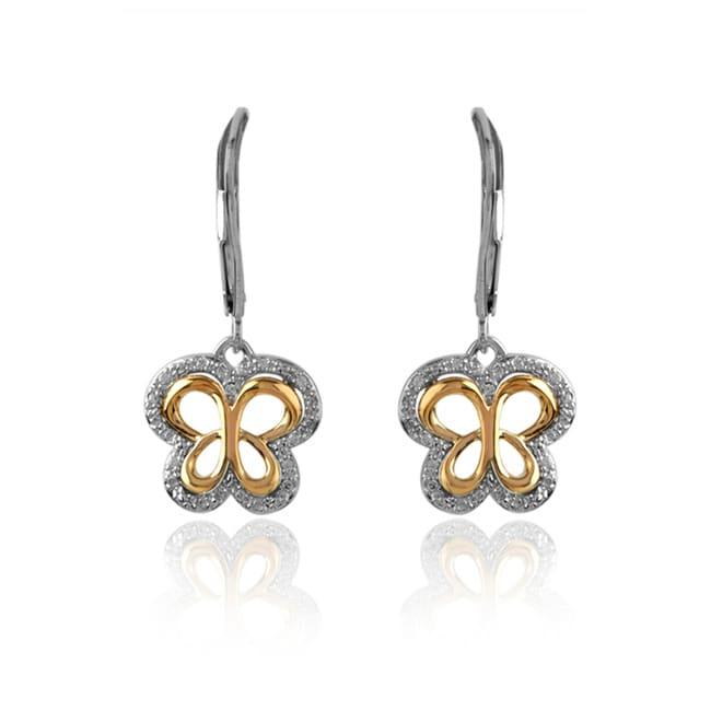 Bridal Symphony 10k Gold 1/6ct TDW Diamond Butterfly Earrings