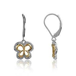 Bridal Symphony 10k Gold 1/6ct TDW Diamond Butterfly Earrings - Thumbnail 1