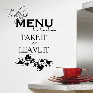 'Today's Menu' Kitchen Vinyl Wall Art Decal