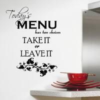 'Today's Menu' Kitchen Vinyl Wall Art Decal