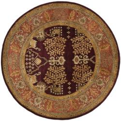 Safavieh Handmade Tree of Life Dark Red/ Rust Hand-spun Wool Rug (8' Round)