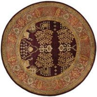 Safavieh Handmade Tree of Life Dark Red/ Rust Hand-spun Wool Rug - 8' x 8' Round