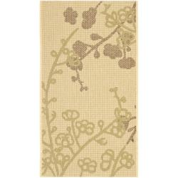 """Safavieh Courtyard Floral Branches Natural/ Olive Green Indoor/ Outdoor Rug (2' x 3'7"""")"""