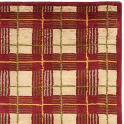 Safavieh Hand-knotted Lexington Plaid Red Wool Rug (4' x 6') - Thumbnail 1