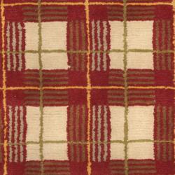 Safavieh Hand-knotted Lexington Plaid Red Wool Rug (4' x 6') - Thumbnail 2