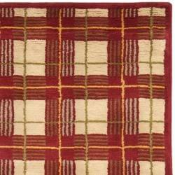 Safavieh Hand-knotted Lexington Plaid Red Wool Rug (5' x 8') - Thumbnail 1
