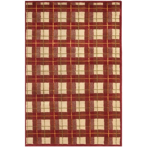 Safavieh Hand-knotted Lexington Plaid Red Wool Rug - 6' x 9'
