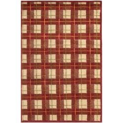 Safavieh Hand-knotted Lexington Plaid Red Wool Rug (6' x 9')