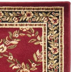 Safavieh Lyndhurst Traditional Floral Trellis Red/ Black Rug (2'3 x 12') - Thumbnail 1