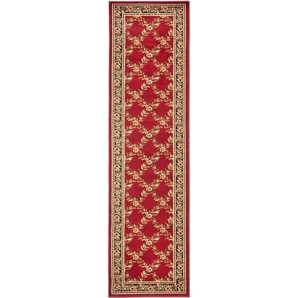 "Safavieh Lyndhurst Traditional Floral Trellis Red/ Black Rug - 2'3"" x 12'"