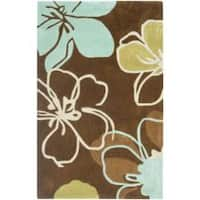 "Safavieh Handmade Modern Art Floral Gardens Brown/ Multicolored Polyester Rug - 2'6"" x 4'"