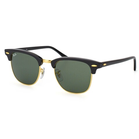 Ray-Ban Clubmaster RB3016 W0365 Black / Green G15 Unisex Sunglasses - Black/Gold