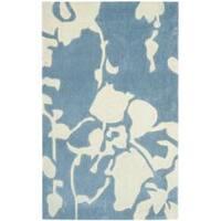 Safavieh Handmade Modern Art Summer Blue/ Ivory Polyester Rug - 2'6 x 4'