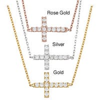 La Preciosa Sterling Silver Cubic Zirconia Sideways Cross Necklace