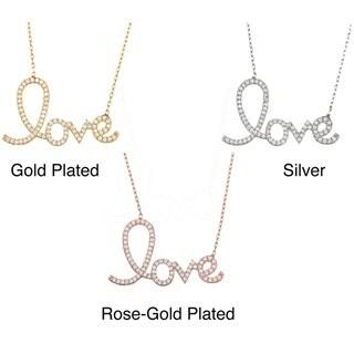 La Preciosa Sterling Silver Cubic Zirconia 'Love' Script Necklace