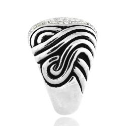 Icz Stonez Sterling Silver And Crystal Striped Ring - Thumbnail 1