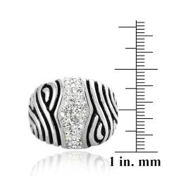 Icz Stonez Sterling Silver And Crystal Striped Ring - Thumbnail 2