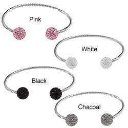 La Preciosa Stainless Steel Crystal Bead Rope Cuff Bracelet