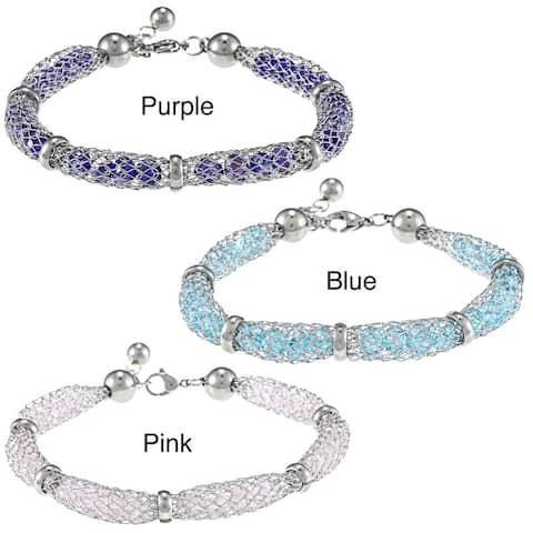 La Preciosa Stainless Steel Crystal-filled Mesh Bracelet
