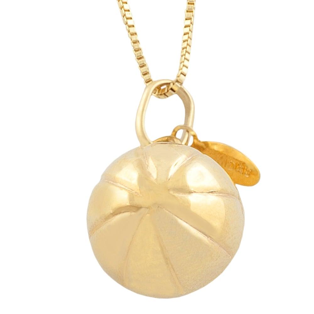 Fremada 14k Yellow Gold Basketball Pendant Goldfill Box Chain