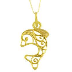 Fremada 14k Yellow Gold Filigree Dolphin Pendant Goldfill Singapore Chain