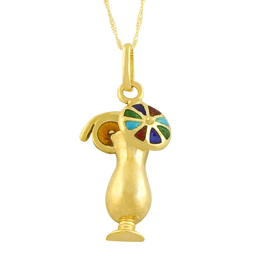 Fremada 14k Gold Tropical Drink Enamel Pendant Goldfill Singapore Chain