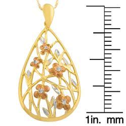 14k Polished Floral Teardrop Pendant