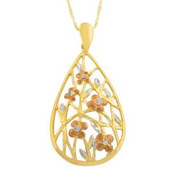 Fremada 14k Tri-color Gold Floral Teardrop Pendant Goldfill Singapore Chain